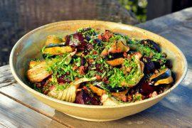 אורז אדום עם ירקות מקורמלים