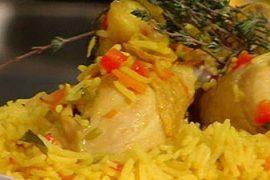 פילאף של אורז בסמטי ירקות שורש ועוף