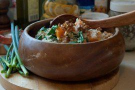 פילאף של אורז בסמטי מלא עם דלעת ומנגולד