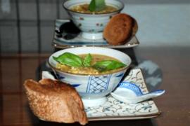 מרק אורזים, כוסמת, עדשים וירקות שורש