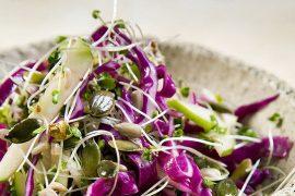 סלט נבטים, ירקות וגרעיני חמנייה ודלעת