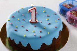 עוגת יום הולדת מקושטת עם בצק סוכר