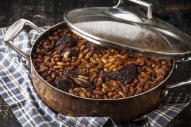 תבשיל שפונדרה עם שעועית לבנה וירקות שורש