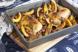 עוף צלוי עם אורז אדום ודלעת ערמונים