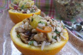 סלט בריאות עם דגנים ותפוזים ברוטב דבש וחרדל