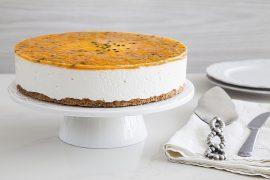 מתכונים לשבועות - עוגת גבינה קרה בציפוי פסיפלורה