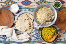 ארוחה הודית - דאל אפונה וירקות