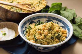 תבשיל אורז, חומוס ותרד