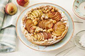 טארט אפרסק עם קרם אגוזי לוז
