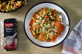 תבשיל גרגירי חומוס עם פרוסות דלעת אפויות