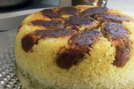 מקלובה של קציצות עם אורז