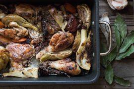 קדירת עוף וירקות בתנור עם אורז פרסי