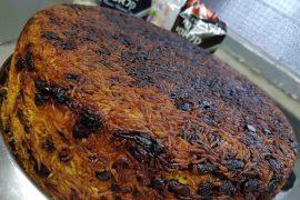 עוגת אורז ועוף עם שעועית אדומה וגזר