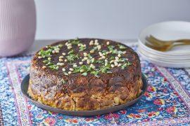 עוגת אורז חגיגית במילוי פרגיות, פטריות וערמונים
