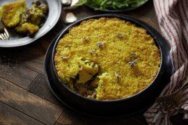 עוגת אורז עם בשר ופטריות