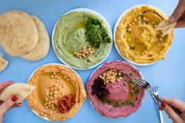 ממרחי חומוס צבעוניים עם ירקות
