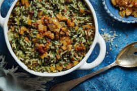 מג'דרה אורז עם עדשים שחורות